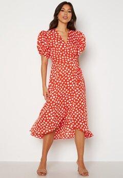 AX Paris Heart Print Midi Dress Red Bubbleroom.no