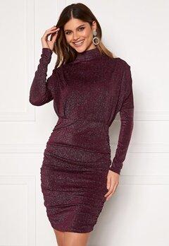 AX Paris High Neck Rough Sparkle Dress Plum bubbleroom.no