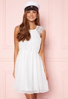 AX Paris Lace Trim Skater Dress White/Black Glitter Bubbleroom.no