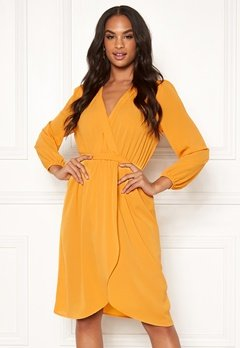 AX Paris Long Sleeve Wrap Dress Yellow Bubbleroom.no