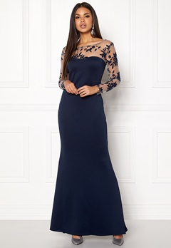 Goddiva Mesh Fishtail Maxi Dress Navy Bubbleroom.no