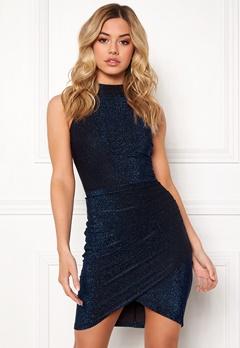 AX Paris Metallic High Neck Dress Blue Bubbleroom.no