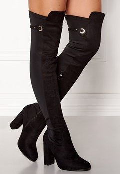 AX Paris Overknee Zip Boots Black Bubbleroom.no