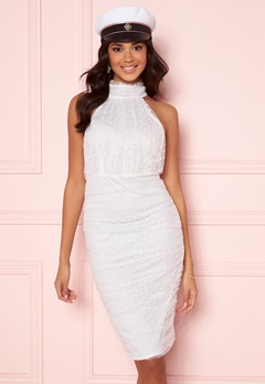 AX Paris Polka Dot Mesh Dress White Bubbleroom.no