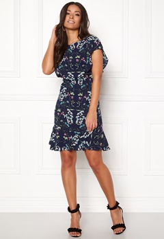 AX Paris Printed Skater Dress Navy Bubbleroom.no