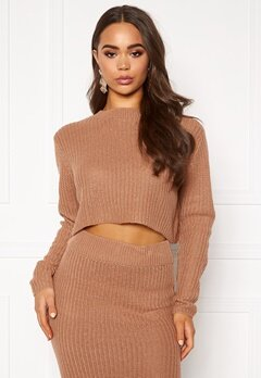 AX Paris Rib Knit Cropped Jumper Camel Bubbleroom.no