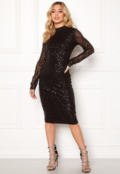 AX Paris Sleeve Sequin Midi Dress Black Bubbleroom.no