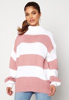 AX Paris Stripe Knitted Jumper Pink Bubbleroom.no