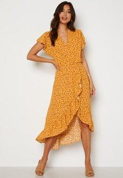 AX Paris Wrap Frill High Low Maxi Dress Yellow Bubbleroom.no