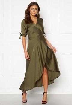 AX Paris Wrap Front Tie Dress Khaki Bubbleroom.no