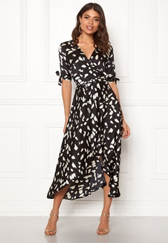 AX Paris Wrap Front Printed Dress Black Bubbleroom.no