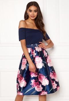 AX Paris Bardot Floral Prom Dress Navy Bubbleroom.no