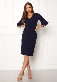 Closet London Bell Sleeve Pencil Dress Navy Bubbleroom.no