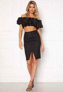 OBJECT Belle Supercoated Slit Skirt Black Bubbleroom.no