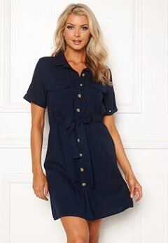 Blue Vanilla Button Shirt Dress Navy Bubbleroom.no