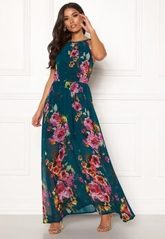 Blue Vanilla Floral Keyhole Maxi Dress Green Bubbleroom.no