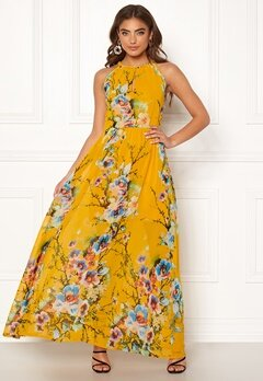 Blue Vanilla Floral Keyhole Maxi Dress Orange Bubbleroom.no