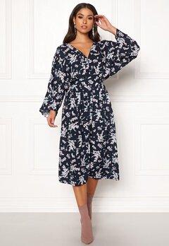 Blue Vanilla Floral Kimono Midi Dress Navy Bubbleroom.no