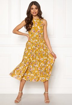 Blue Vanilla Floral Pleated Midi Dress Mustard Bubbleroom.no