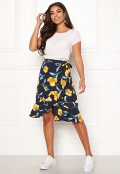 Blue Vanilla Floral Ruffle Wrap Skirt Navy Bubbleroom.no