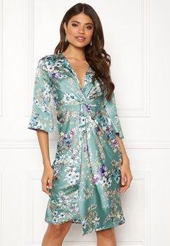 Blue Vanilla Floral Twist Midi Dress Mint Bubbleroom.no