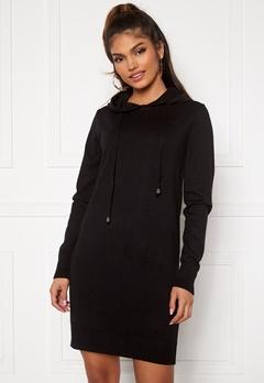 Blue Vanilla Knitted Jumper Dress With Hood Black Bubbleroom.no