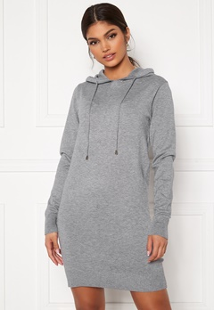 Blue Vanilla Knitted Jumper Dress With Hood Grey Bubbleroom.no
