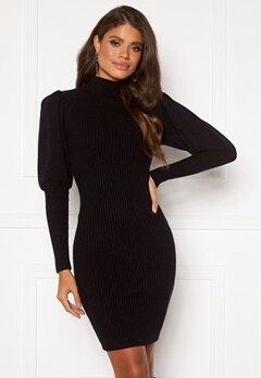 Blue Vanilla Knitted Puff Sleeve Dress Black bubbleroom.no