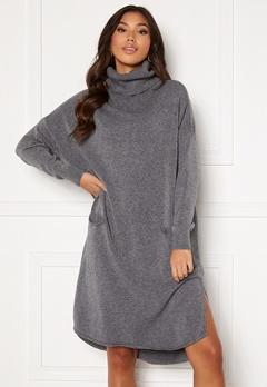 Blue Vanilla Knitted Roll Neck Dress Grey Bubbleroom.no