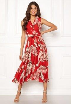 Blue Vanilla Palm Print Midi Dress Red Bubbleroom.no