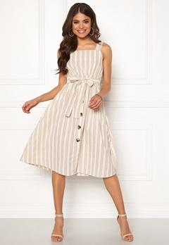 Blue Vanilla Stripe Tie Midi Dress Natural Bubbleroom.no