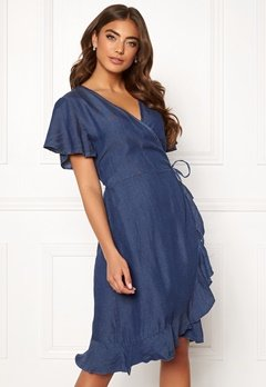Blue Vanilla Wrap Frill Denim Dress Dark Denim Bubbleroom.no
