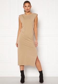 Bohemian Lounge Shoulder Pad Midaxi Dress Camel Bubbleroom.no