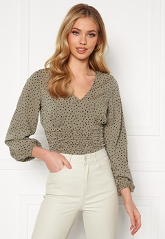 BUBBLEROOM Adelia ruched blouse Dusty green / Black / Dotted Bubbleroom.no