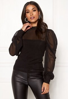 BUBBLEROOM Alida mesh top Black Bubbleroom.no