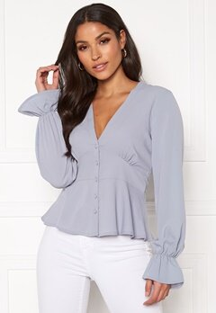 BUBBLEROOM Aliya blouse Dusty blue Bubbleroom.no