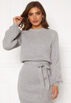 BUBBLEROOM Amira knitted dress Grey melange Bubbleroom.no