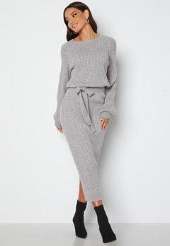 BUBBLEROOM Amira knitted dress Grey melange bubbleroom.no