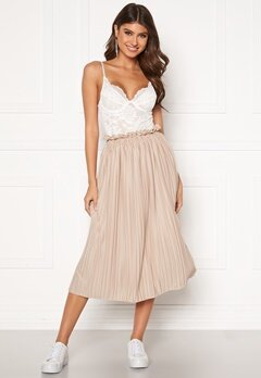 BUBBLEROOM Anna midi pleated skirt Beige Bubbleroom.no