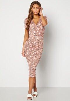 BUBBLEROOM Becky wrap dress Dark dusty pink / White Bubbleroom.no