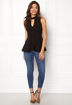 BUBBLEROOM Bella peplum top Black Bubbleroom.no