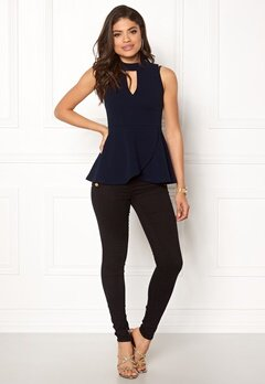 BUBBLEROOM Bella peplum top Dark blue Bubbleroom.no