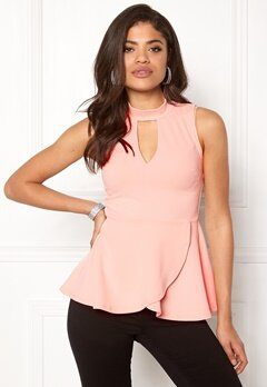 BUBBLEROOM Bella peplum top Light pink Bubbleroom.no