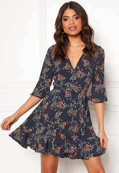 BUBBLEROOM Bella printed dress Blue / Floral Bubbleroom.no