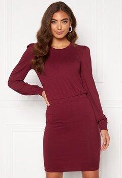 BUBBLEROOM Besa long sleeve short dress  Wine-red Bubbleroom.no