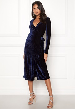 BUBBLEROOM Blair overlap dress Dark blue Bubbleroom.no