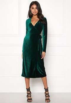 BUBBLEROOM Blair overlap dress Dark green Bubbleroom.no