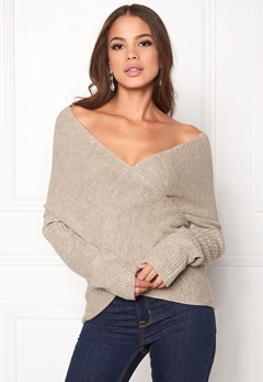 BUBBLEROOM Brixia knitted sweater Beige melange Bubbleroom.no