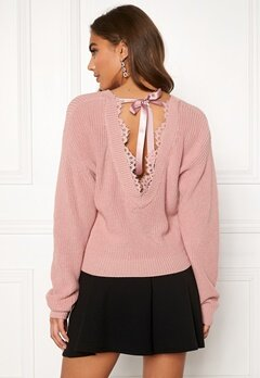 BUBBLEROOM Callie lace neck knitted sweater Dusty pink Bubbleroom.no
