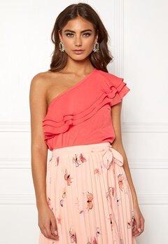 BUBBLEROOM Carolina Gynning Flounce blouse Peach Bubbleroom.no